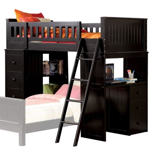 Bowery Hill Twin Loft Bed With Desk In Black Products Bed