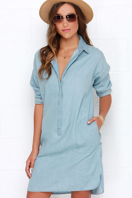 21cd36df36d Shimmy Shimmy Chambray Light Wash Shirt Dress at Lulus.com!