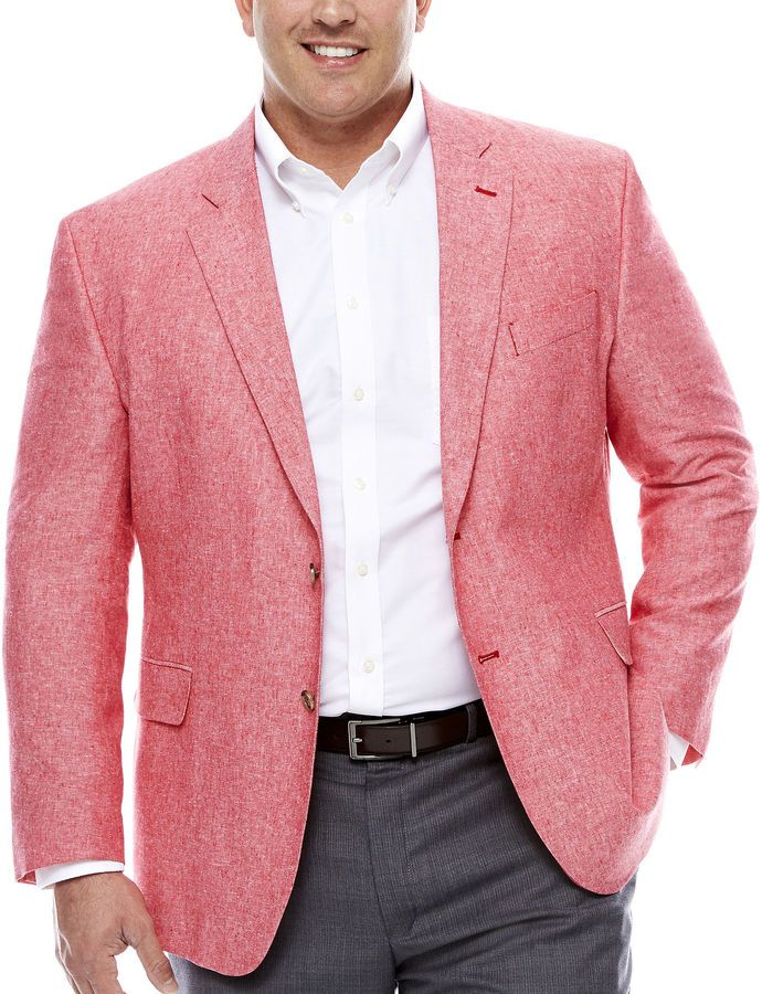STAFFORD Stafford Linen Cotton Red Sport Coat-Big and Tall | The ...