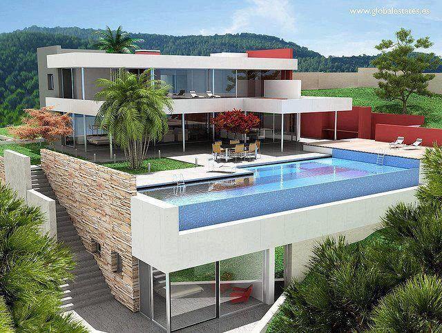 Moderne häuser grundriss mit pool  moderne Villa, leben auf mehreren Ebenen mit tollem Pool | amazing ...