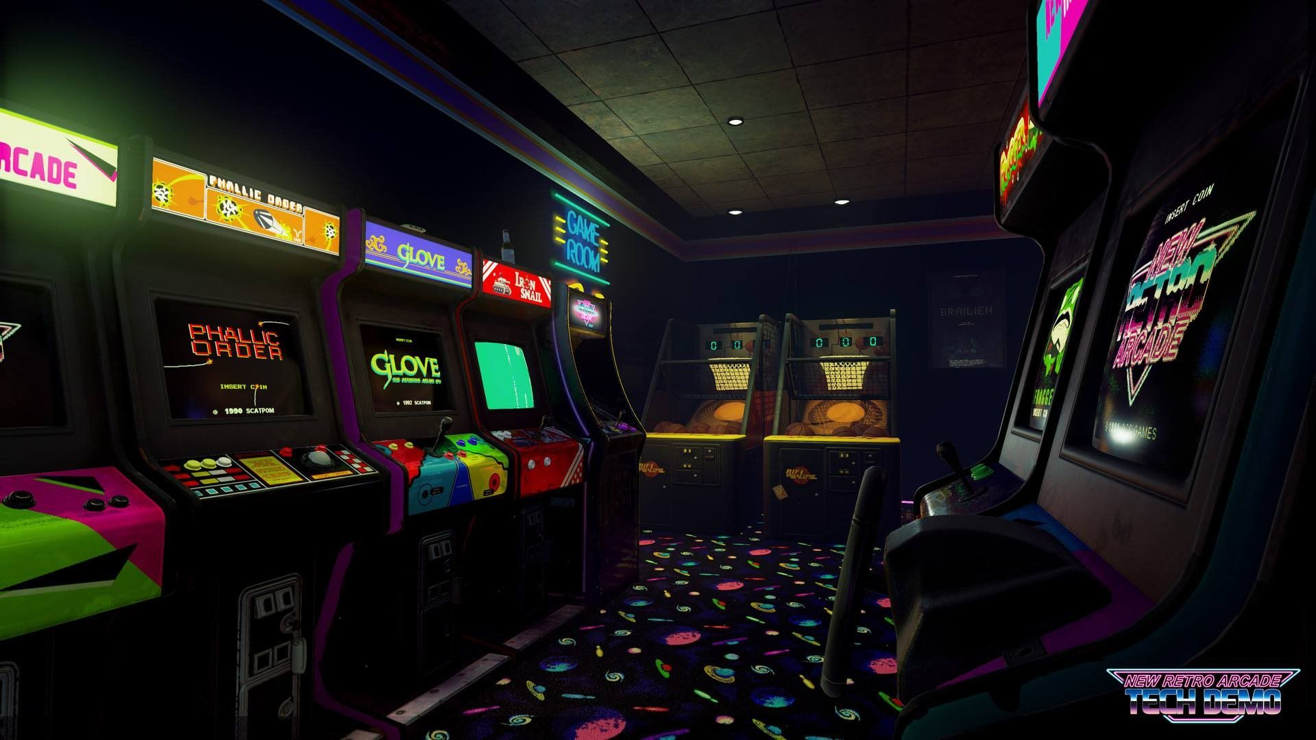 New Retro Arcade Tech Demo Htc Vive Gameplay Retro Arcade Arcade Retro Games Wallpaper