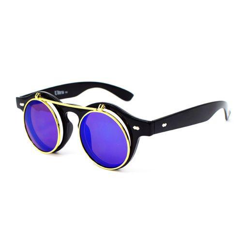 Ultra Black Frame avec Red lentilles Flip up cercle Steampunk haute qualité lunettes lunettes Retro rond Cyber lunettes de soleil r4S6oO