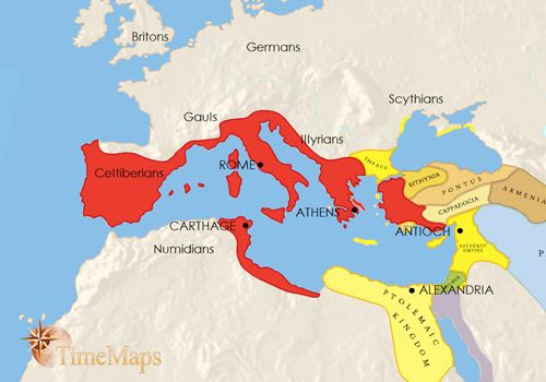 This map shows the Roman Conquests between 200-100 BC during the Roman State's expansion before Rome was ruled under a Monarch.