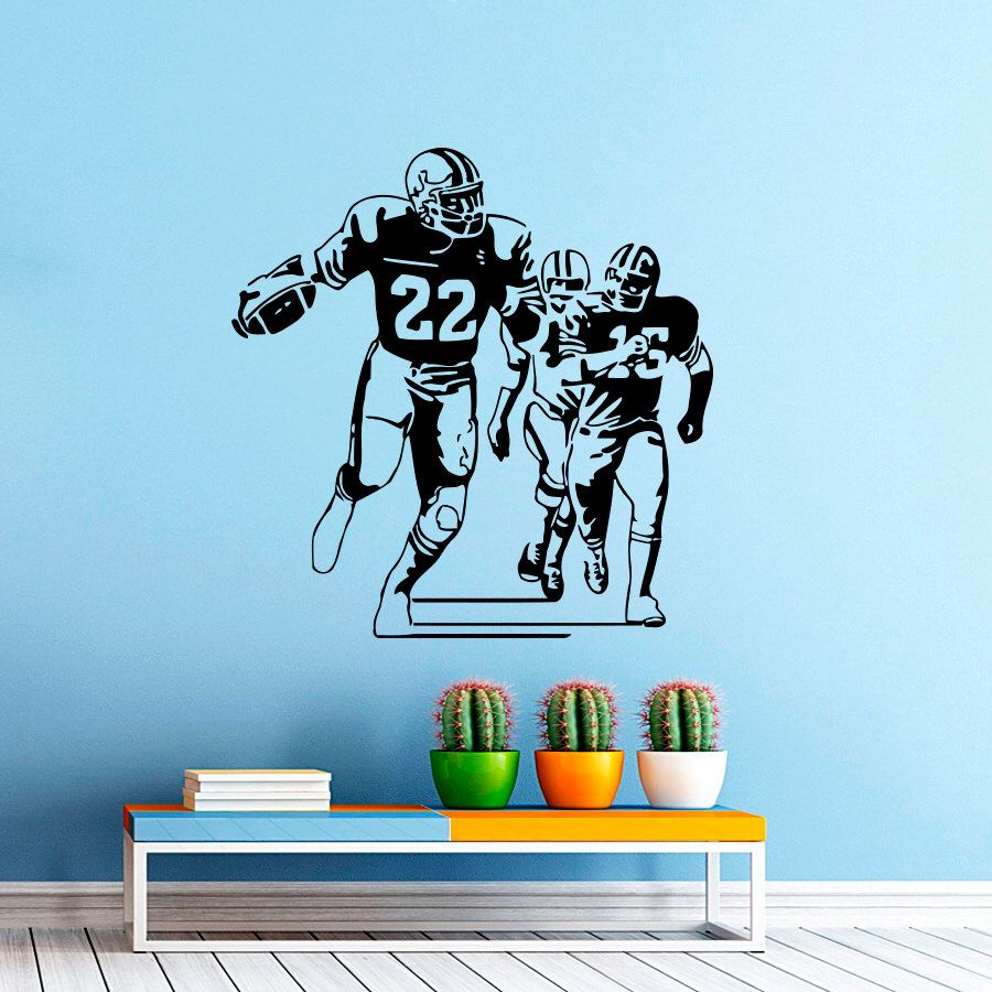 Football Player Wall Decal Vinyl Sticker Sport Wall Decor Home Interior Design Art Mural Boy Room Kids Nursery Bedroom Dorm Z744 by WisdomDecals on Etsy https://www.etsy.com/listing/225554365/football-player-wall-decal-vinyl-sticker