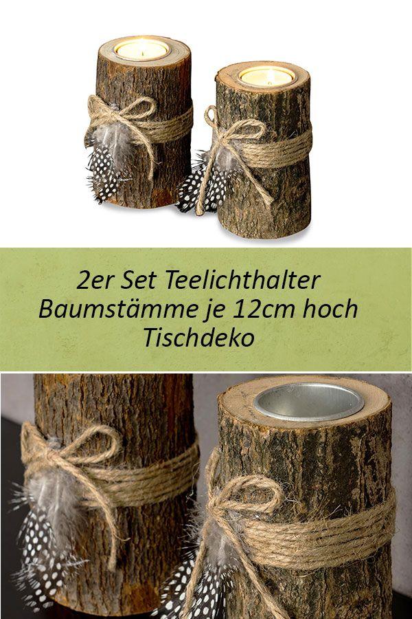 2er Set Teelichthalter Holz je 12cm hoch Kerzenhalter Federn Kerzenständer #weihnachtsdekobalkon