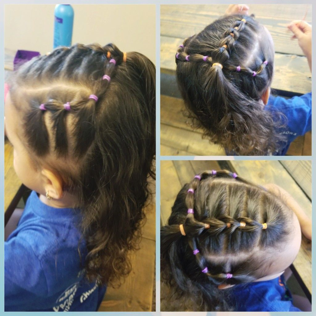 Easy toddler hairstyle pull through braid and french pony tail