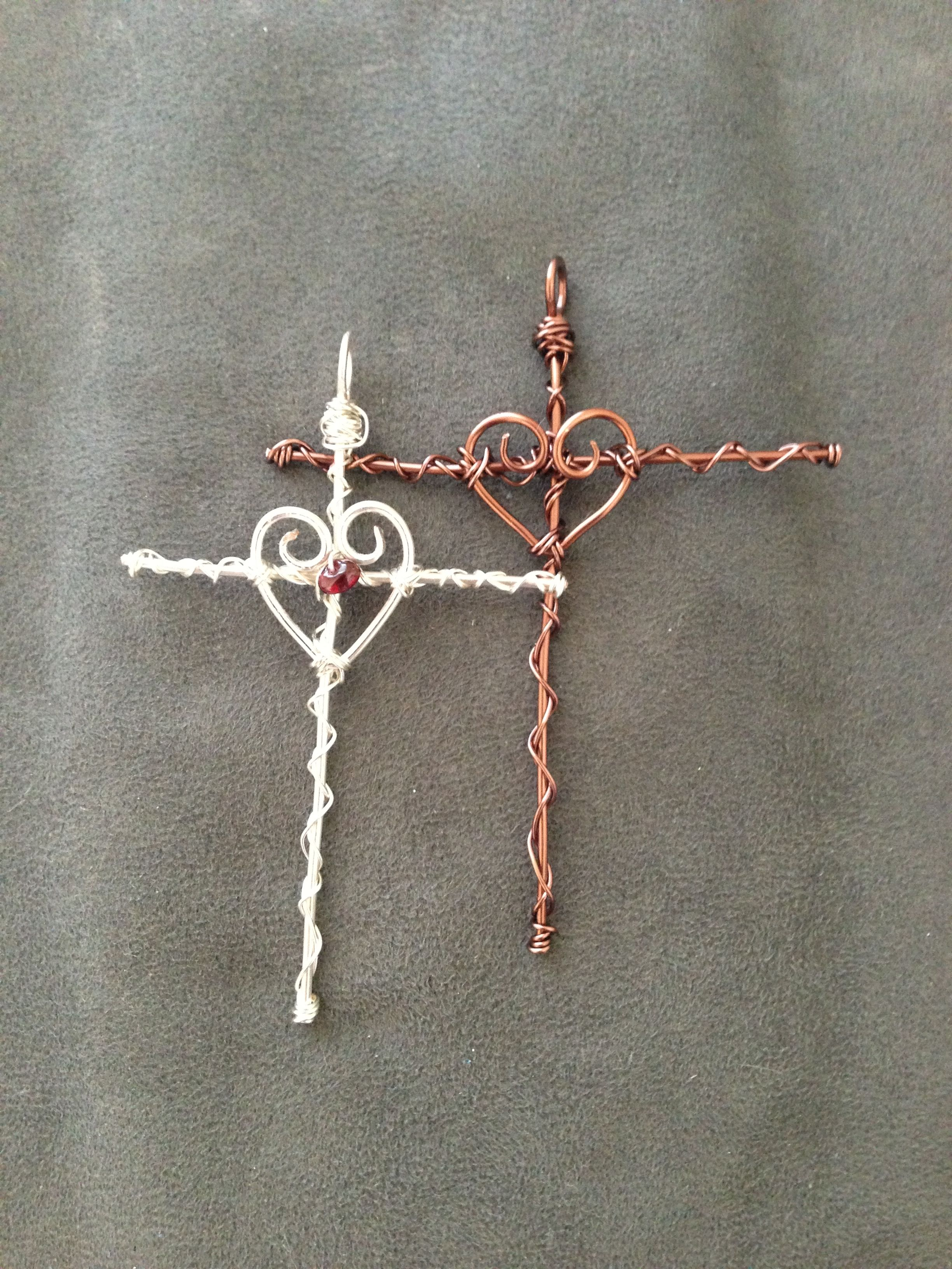 Wire Wrapped Heart/Cross pendants: one is all copper wire and the ...