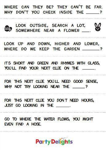 image regarding Printable Treasure Hunt Clues named Cost-free Printable Outside Easter Egg Hunt Clues Easter