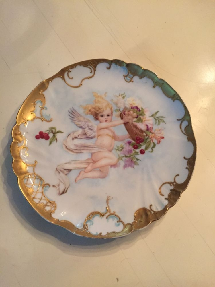 Hand painted Limoges cherub charger #Limoges