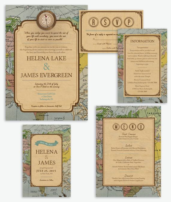 rustic vintage travel theme wedding invitation products