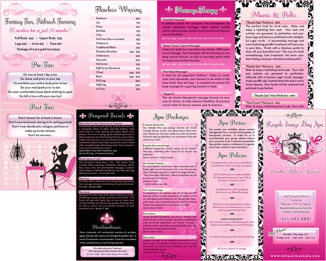 Spa Brochure Design Glamorous Pink Tufted Graphic Design Girly