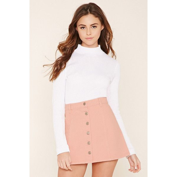 c95d08139e Forever21 Button-Front Denim Skirt ($20) ❤ liked on Polyvore featuring  skirts, mini skirts, light pink, mini skirt, forever 21, button front skirt,  ...