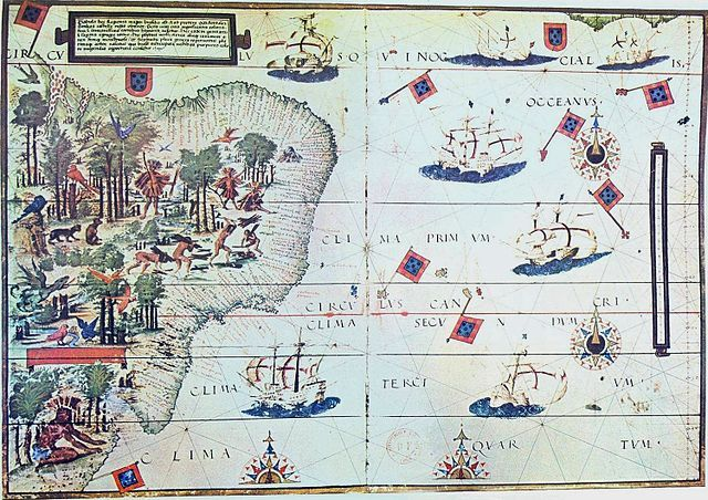 "Bibliophilia on Twitter: ""The coast of Brazil and natives extracting brazilwood. Portuguese map by Lopo Homem (c. 1519) https://t.co/D4oOPh8NEf"""
