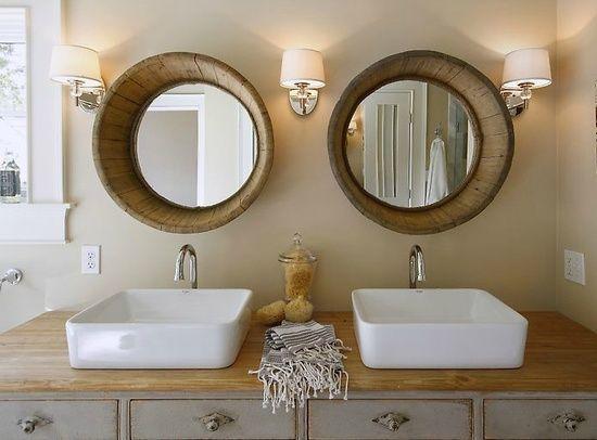 Cool Mirror Ideas Wine Barrel Mirror Cool Design Ideas - Wine barrel bathroom vanity for bathroom decor ideas