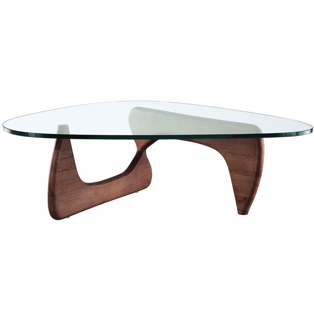 Noguchi Style Coffee Table In Walnut Isamu Triangle Wood Base - Isamu noguchi style coffee table