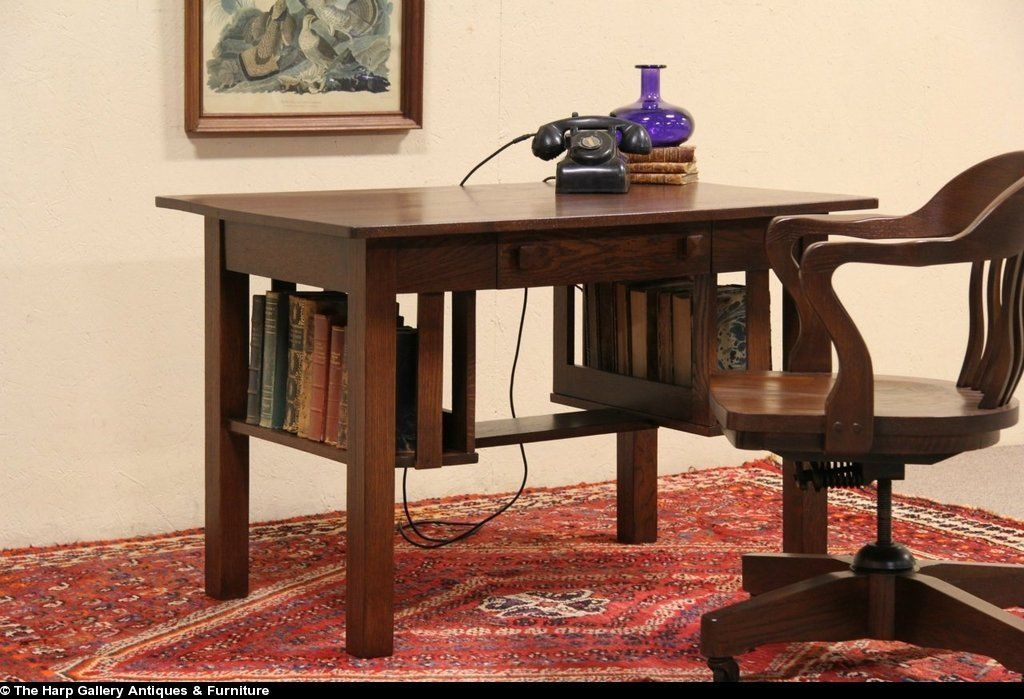 Arts & Crafts Mission Oak Antique 1905 Library Table Writing Desk, from harpgallery on Ruby Lane