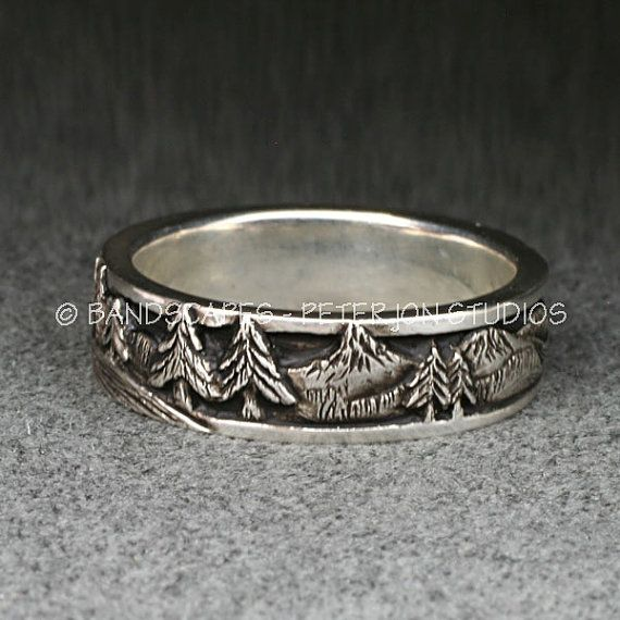 Peaks Pines And Rivers A Highly Detailed Wedding Band In