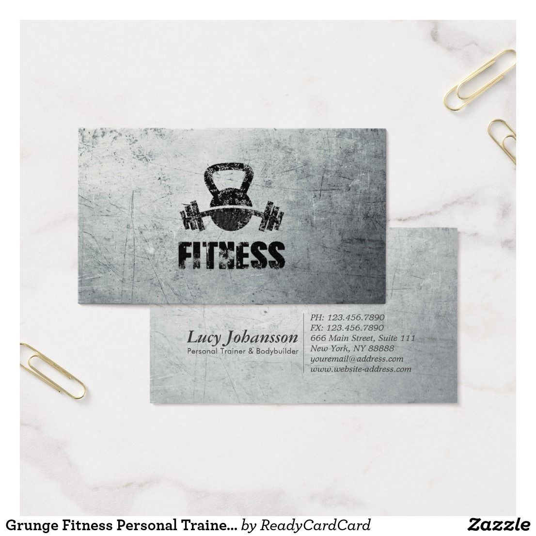 Grunge Fitness Personal Trainer Kettlebell Barbell Business Card ...