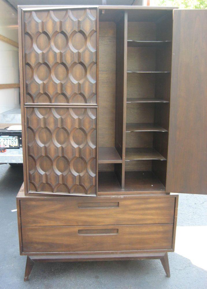 Mid Century Modern Kent Coffey/Broyhill Style Wardrobe, Brutalist Chest,Dresser #unknown
