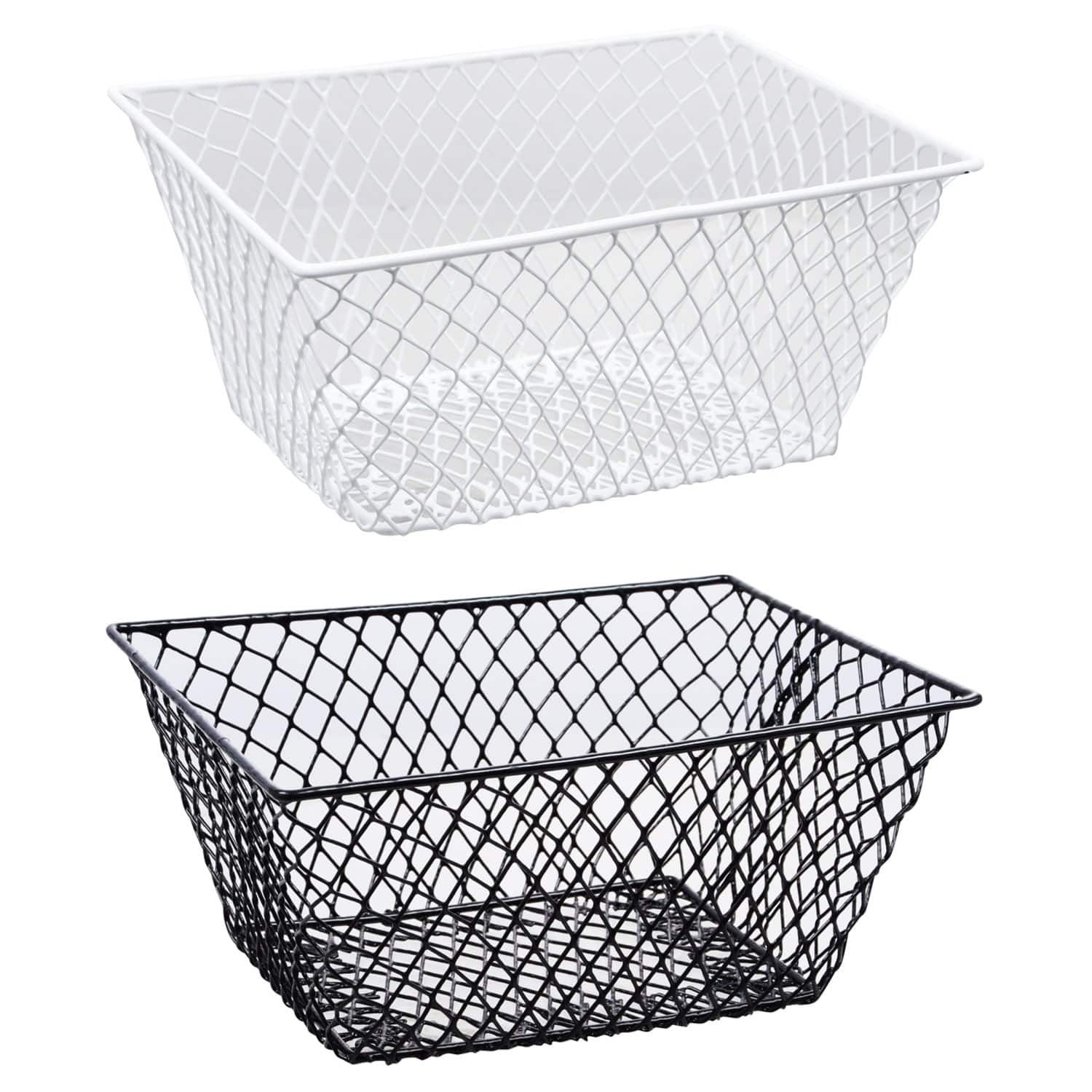 Essentials Metal Rectangular Wire Baskets with Handles images