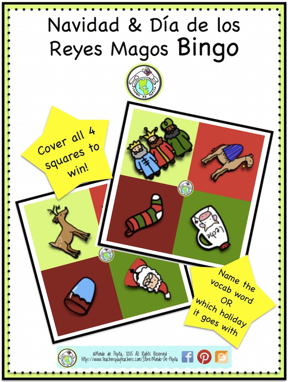 Christmas Three Kings Day Tres Reyes Magos Mini Bingo Cards ...