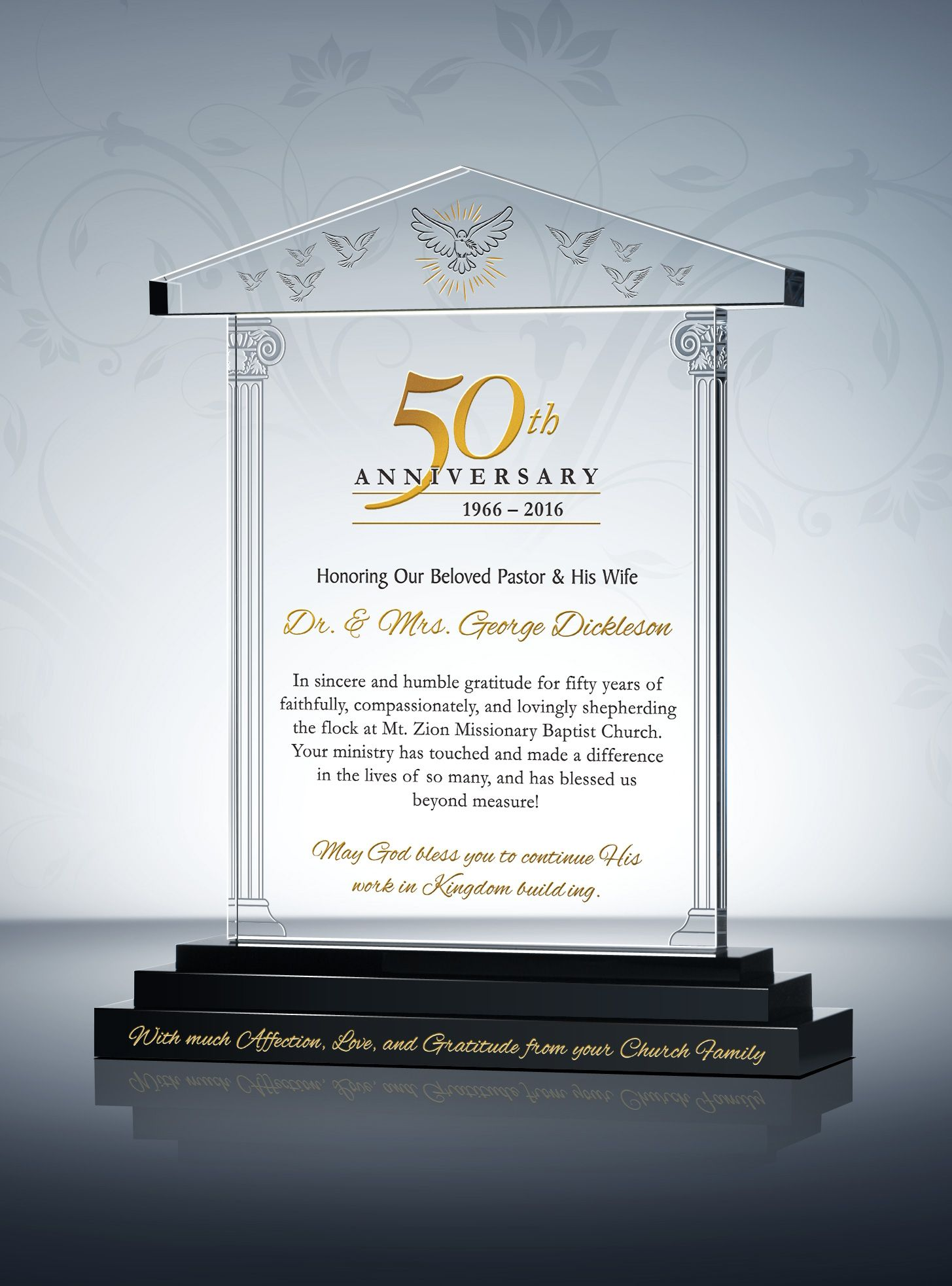 Pastoral Anniversary Gift Plaque 50th Anniversary Gifts