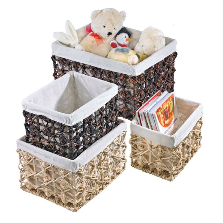 Bring out the inner organizer in you with our natural woven storage baskets.  Each features sturdy woven design with fabric lining.  Available in dark brown or natural hues.  http://www.oldtimepottery.com/