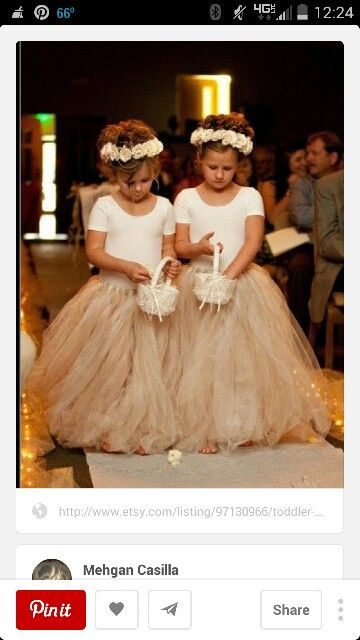 Love this for maddie and merabelle but the tutu in light purple and babys breath flowers in their hair!:)