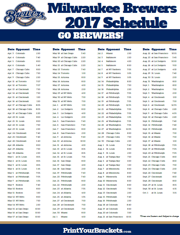 photo relating to Cincinnati Reds Printable Schedule referred to as Milwaukee Brewers Plan Printable MLB Schedules