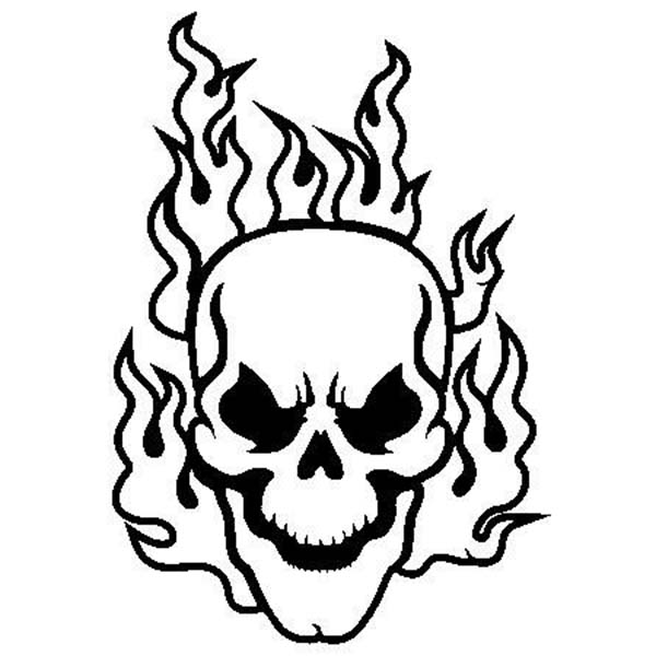 Flaming Skull Coloring Page Coloring Sky Skull Coloring Pages Skull Stencil Skull Decal