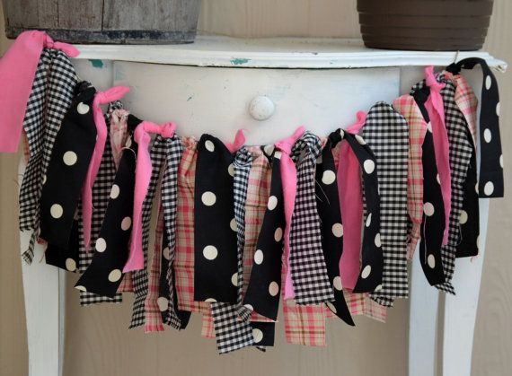 Pink and Black Fabric Strip Rag Banner Minnie Mouse Birthday
