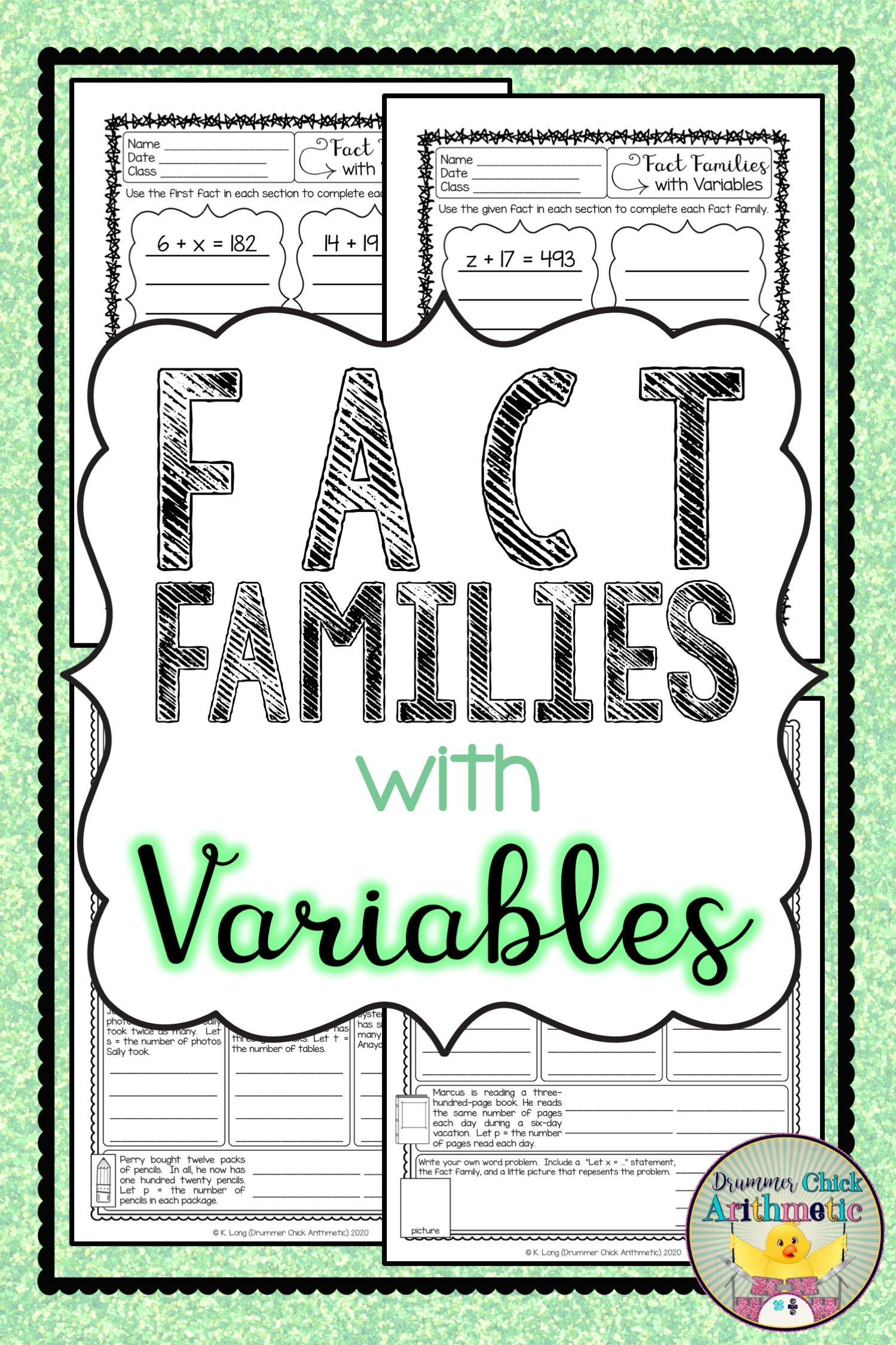 Fact Families With Variables Bundle In