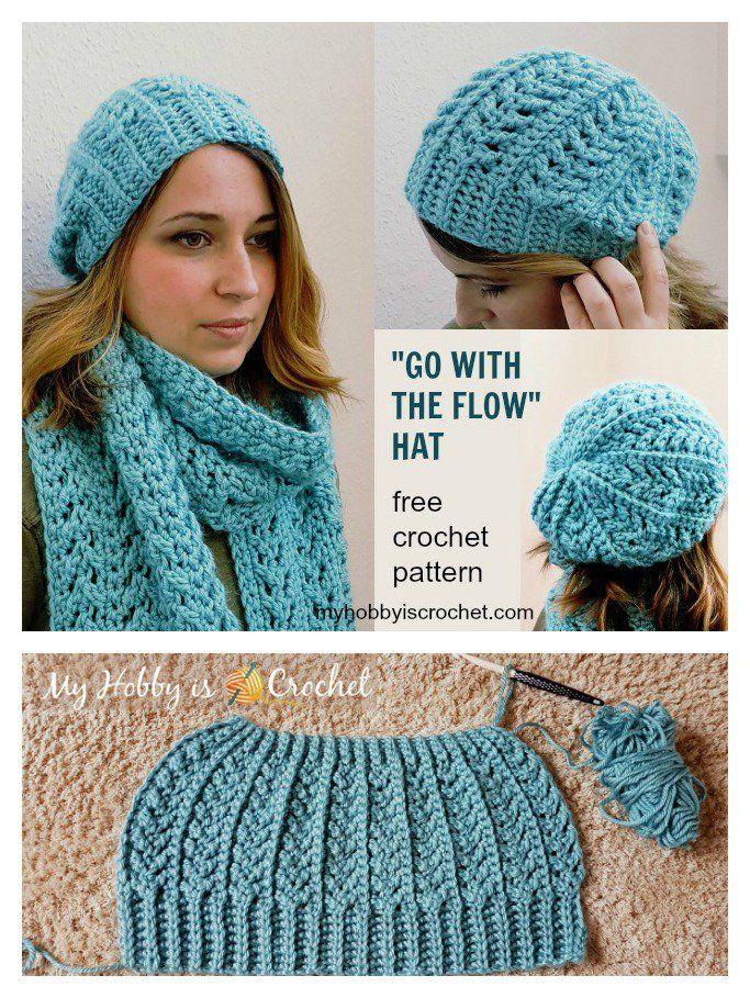 Go with the Flow Hat Free Crochet Pattern   Stirnband, Mütze und Häkeln