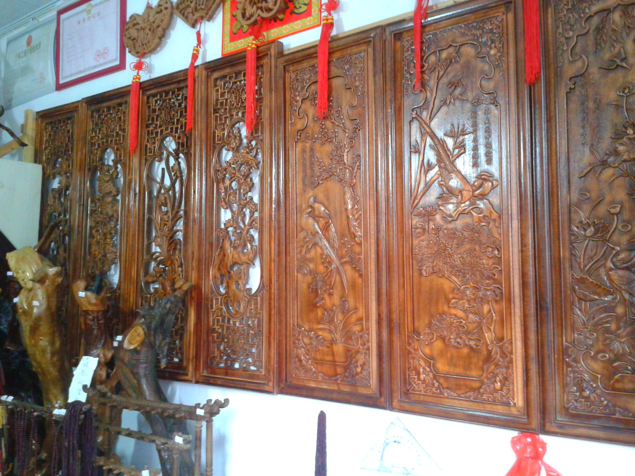 Some hand carved wood paneling you can find for sale here in Qiantong Ancient Town.