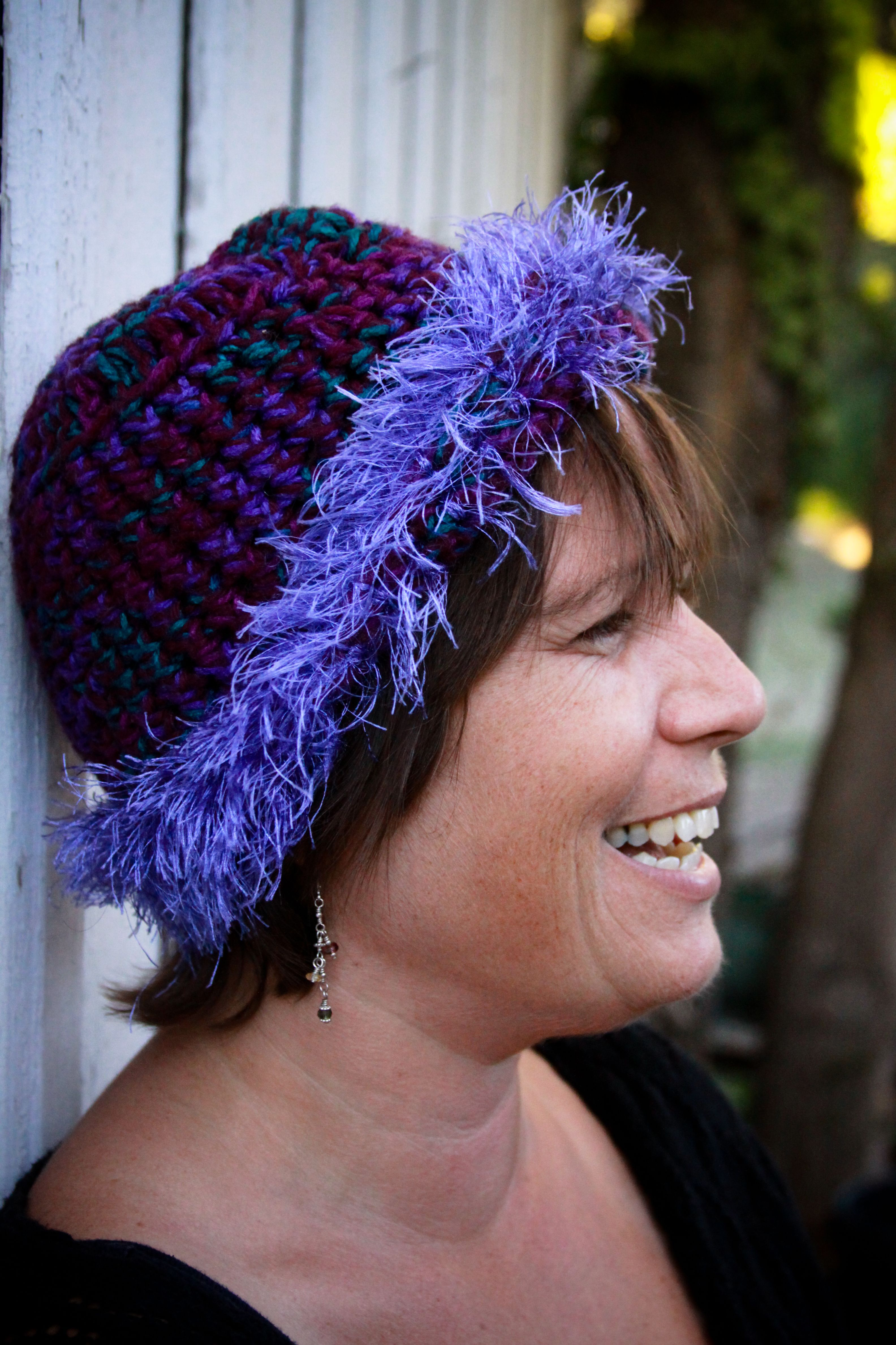 Crocheted purple beanie with purple fringe…still wear this one :) by Calder Creations (Photo credit to Ashlee Newman Photography)