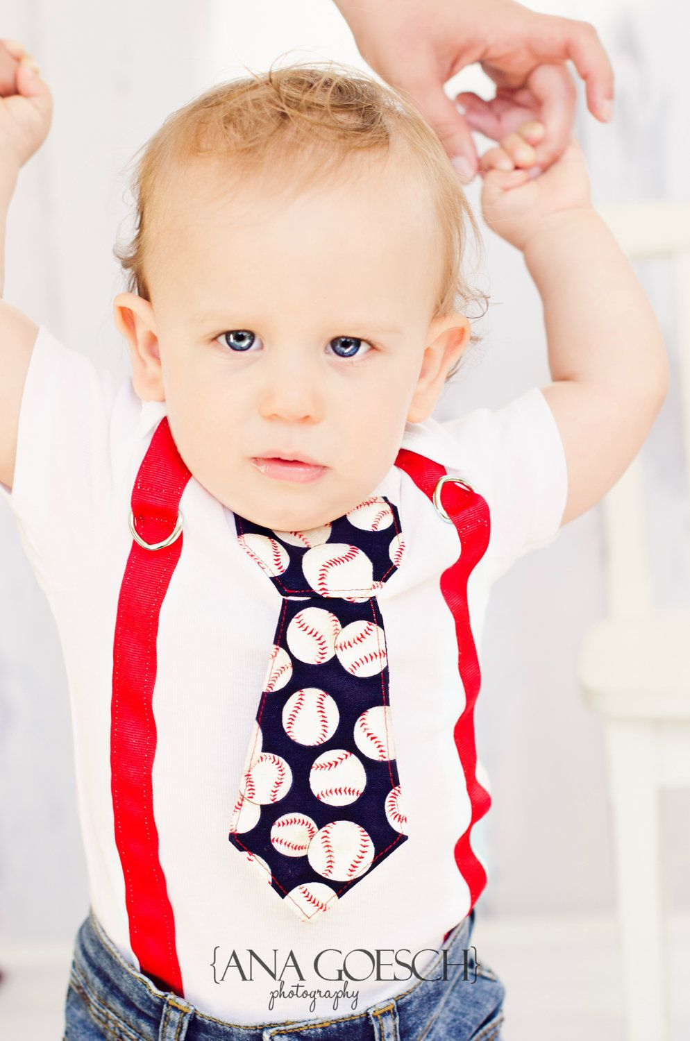 be32751da Baseball Tie Onesie with red suspenders NB- 24M- Baby Boy Clothing ...