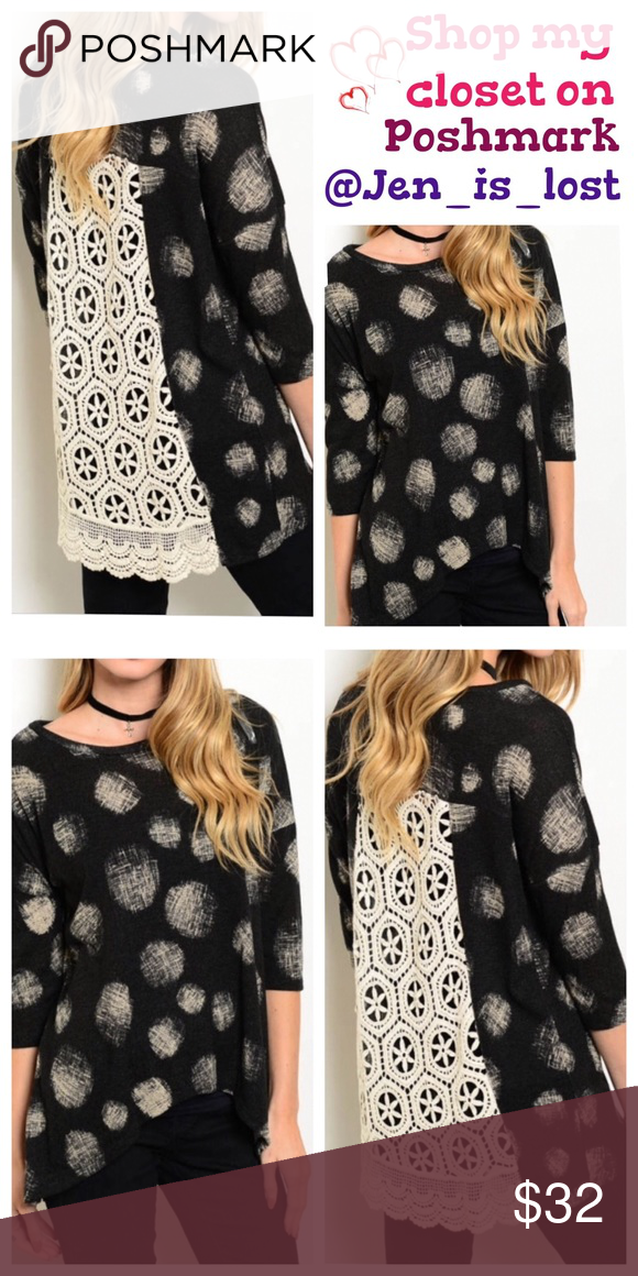 Crochet Back Top  Small Crochet Back Top  This is a great hi-Lo top (97% cotton and 3% spandex) with an open crochet back! The crochet is an ivory in color and blouse is a black and ivory.  Fit is for a woman's 2-4. 🚫No Trades🚫 ✅Reasonable Offers Are Considered✅ Use the blue offer button. Tops