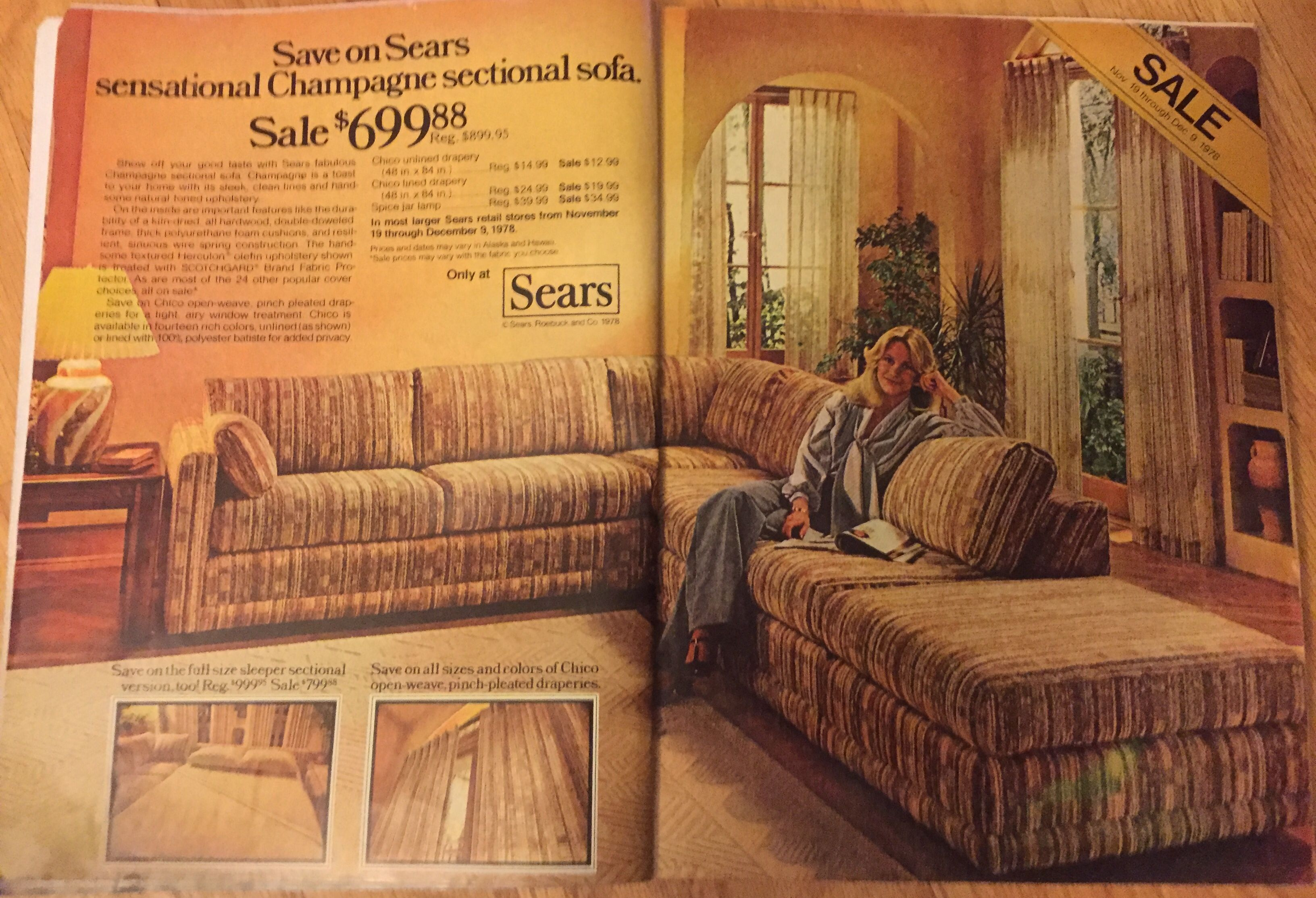 Champagne Sectional Sofa At Sears Ad From 1978 Good Housekeeping Sectional Sofa Vintage Furniture Furniture #sears #living #room #sets