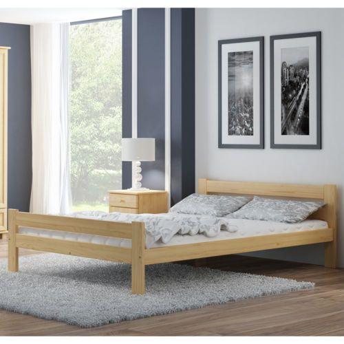 Details zu Holzbett Ehebett Massivholz Komfortbett 120/140/160x200cm