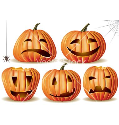 Halloween pumpkin set vector 974856 - by pinkcoala on VectorStock®
