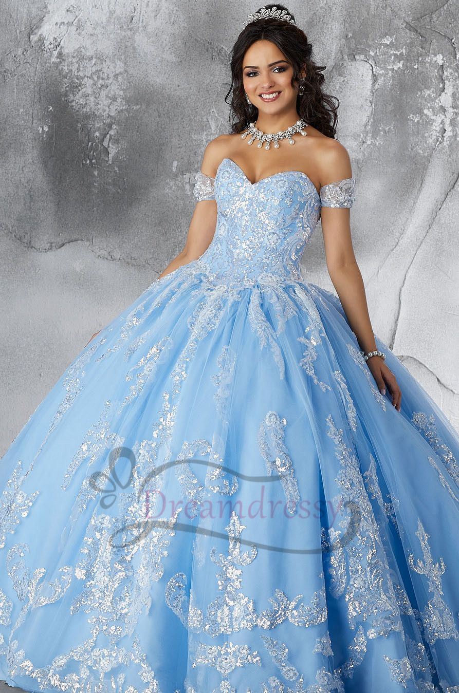 935599a078b Sweerheart Blue Long Quinceanera Dress with Silver Appliques in 2019 ...