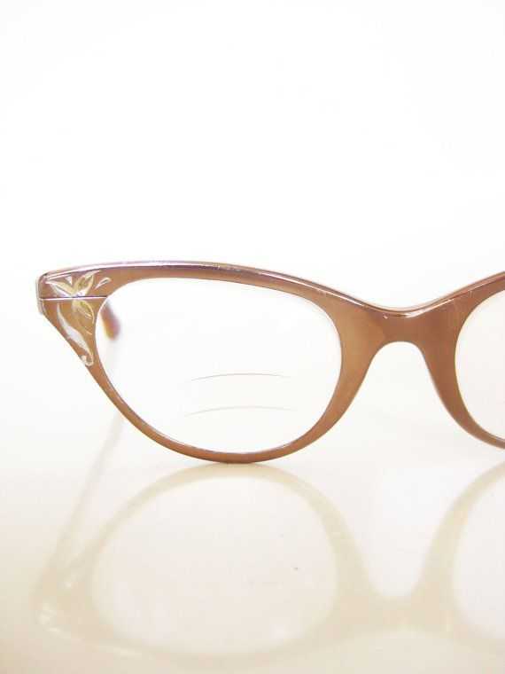 Vintage 1950s Glasses // 50s Eyeglasses TURA // Copper CATEYE Cat ...
