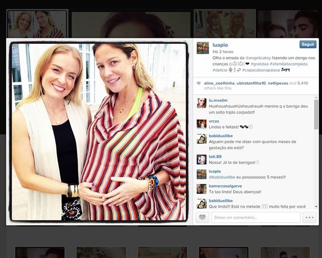 Grávida de gêmeos, Luana Piovani recebe visita surpresa de Angélica