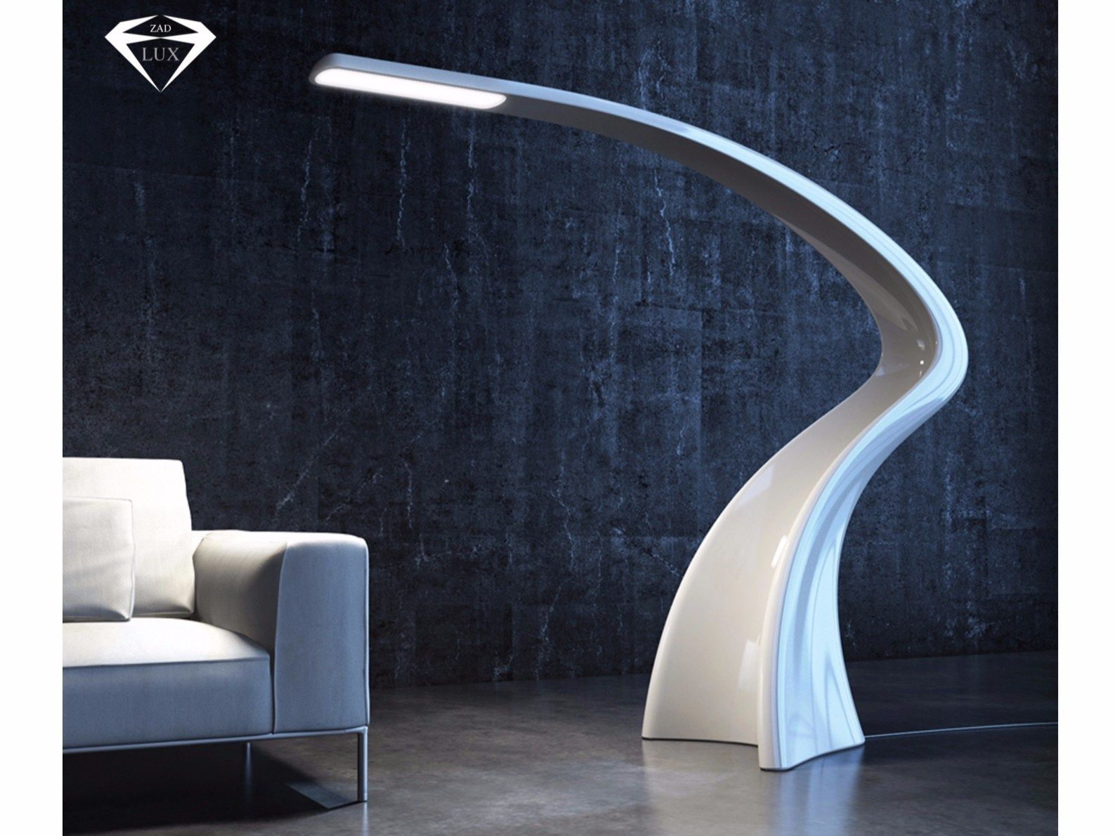 Led adamantx floor lamp with dimmer lumia by zad italy design