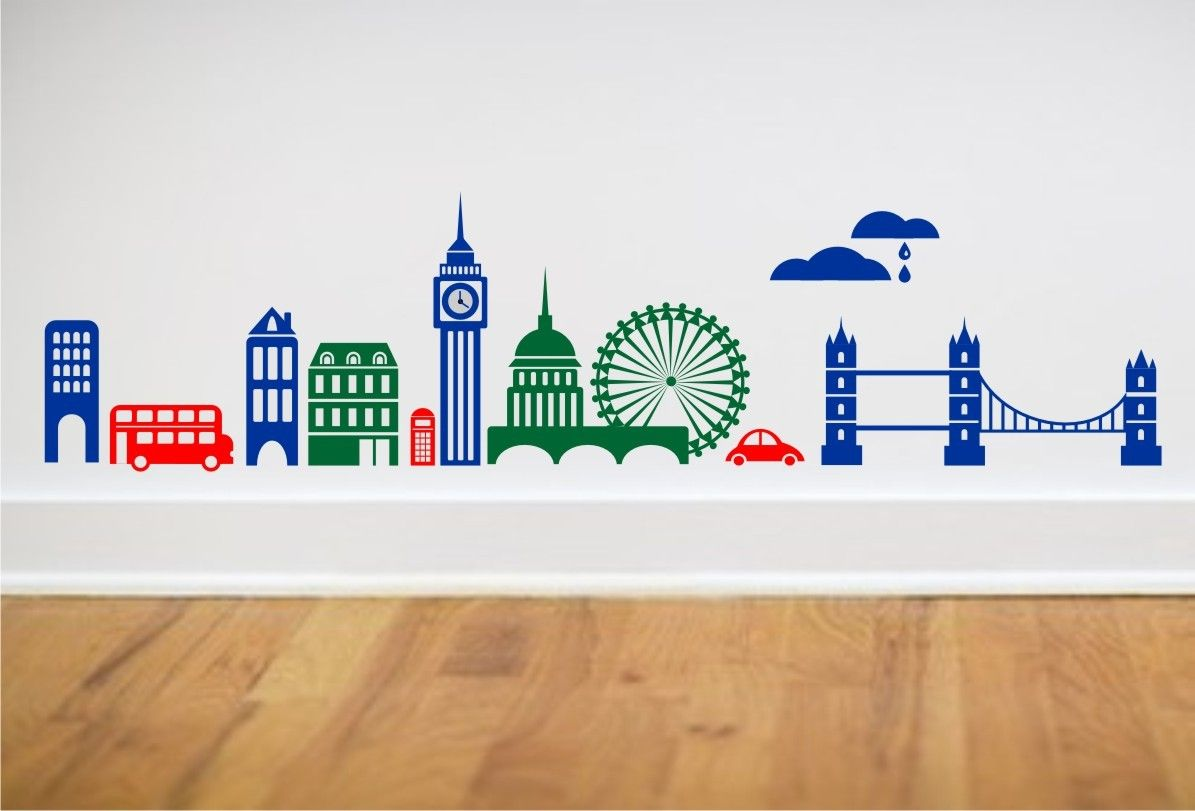 London skyline wall decal big ben london bridge ferris wheel london skyline wall decal big ben london bridge ferris wheel double decker bus and more large size amipublicfo Images