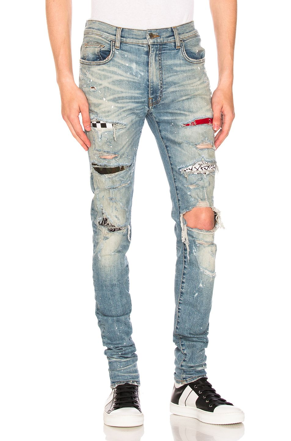 newest collection latest new list Amiri Art Patch Painted Jean in Classic Indigo   FWRD in ...
