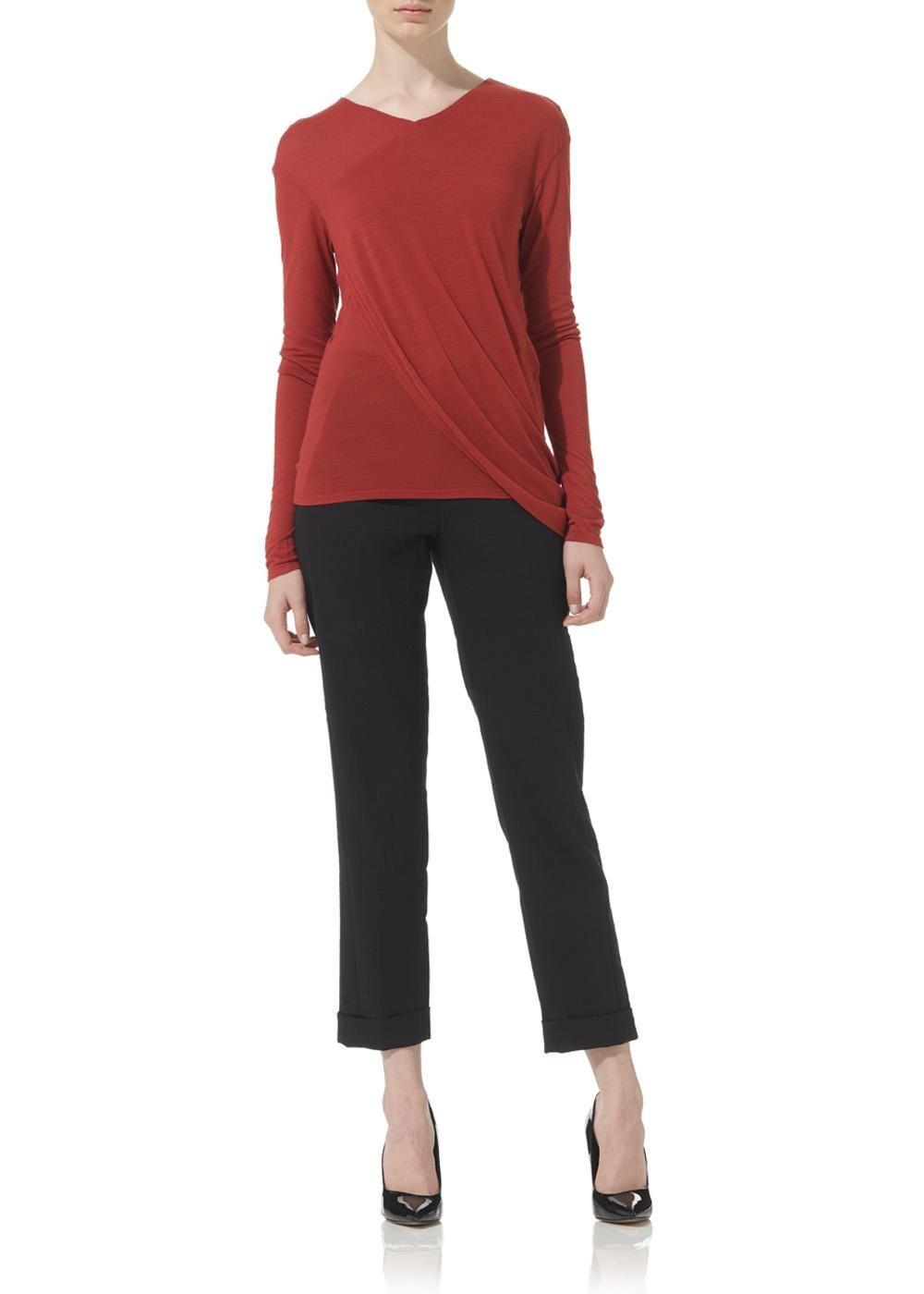 Wool Jersey Long Sleeve Drape Top