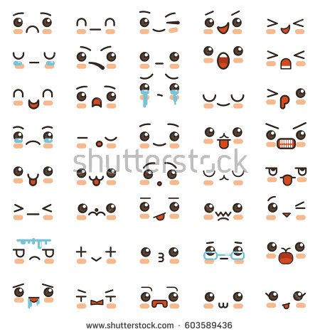 Kawaii Cute Smile Emoticons And Japanese Anime Emoji Faces Expressions Vector Cartoon Style Comic Sketch Icons Emoji Drawings Smile Drawing Cartoon Expression