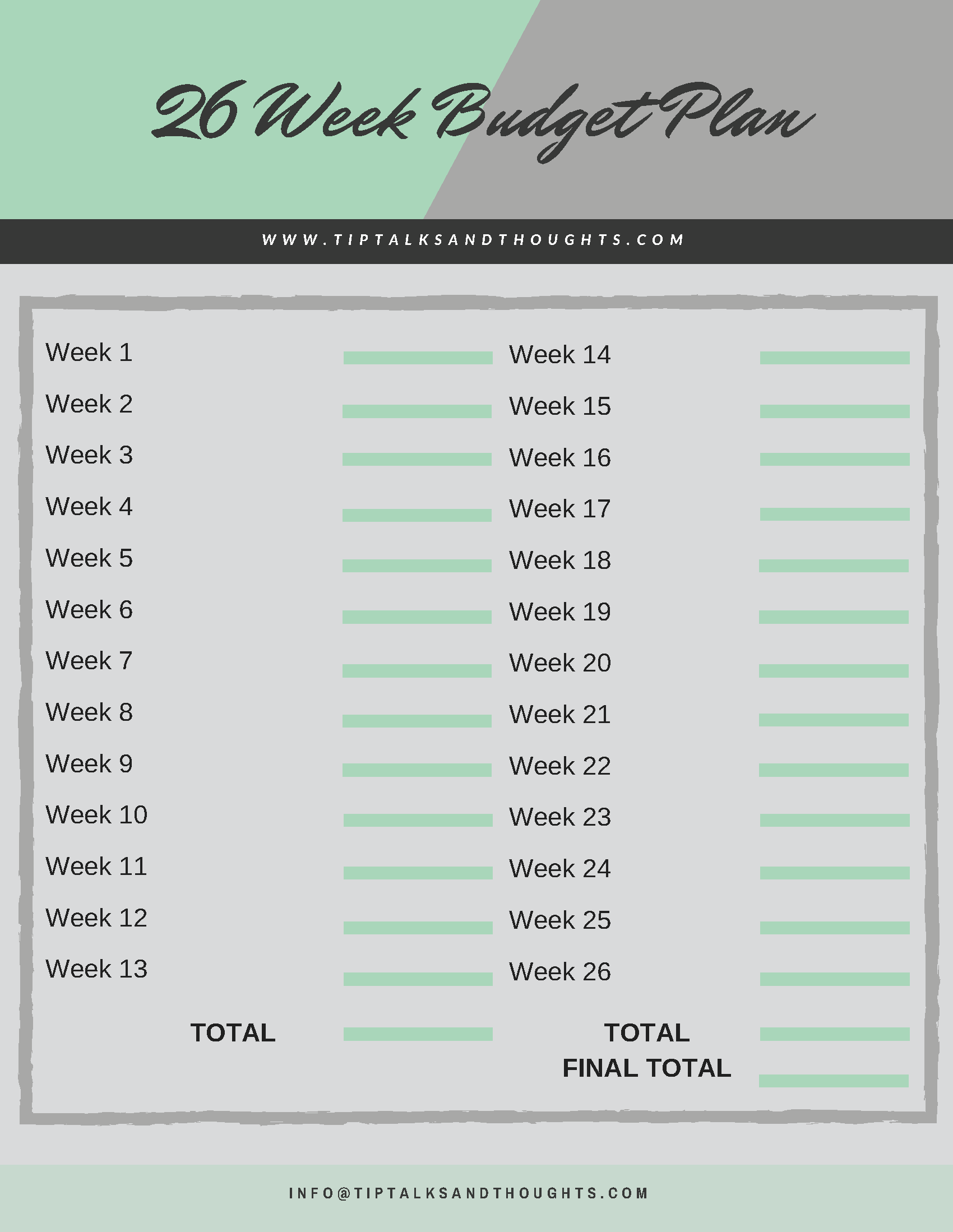 26 Week Budget Plan With Images