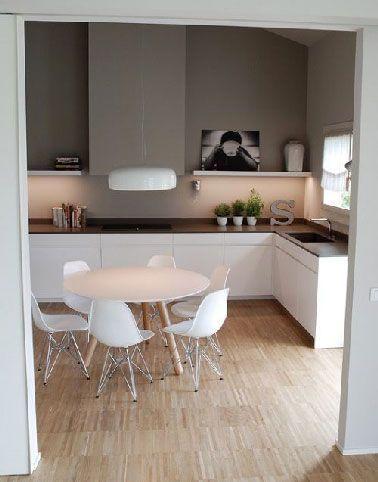Cuisine blanche et peinture grise ambiance scandinave | Cuisine ...